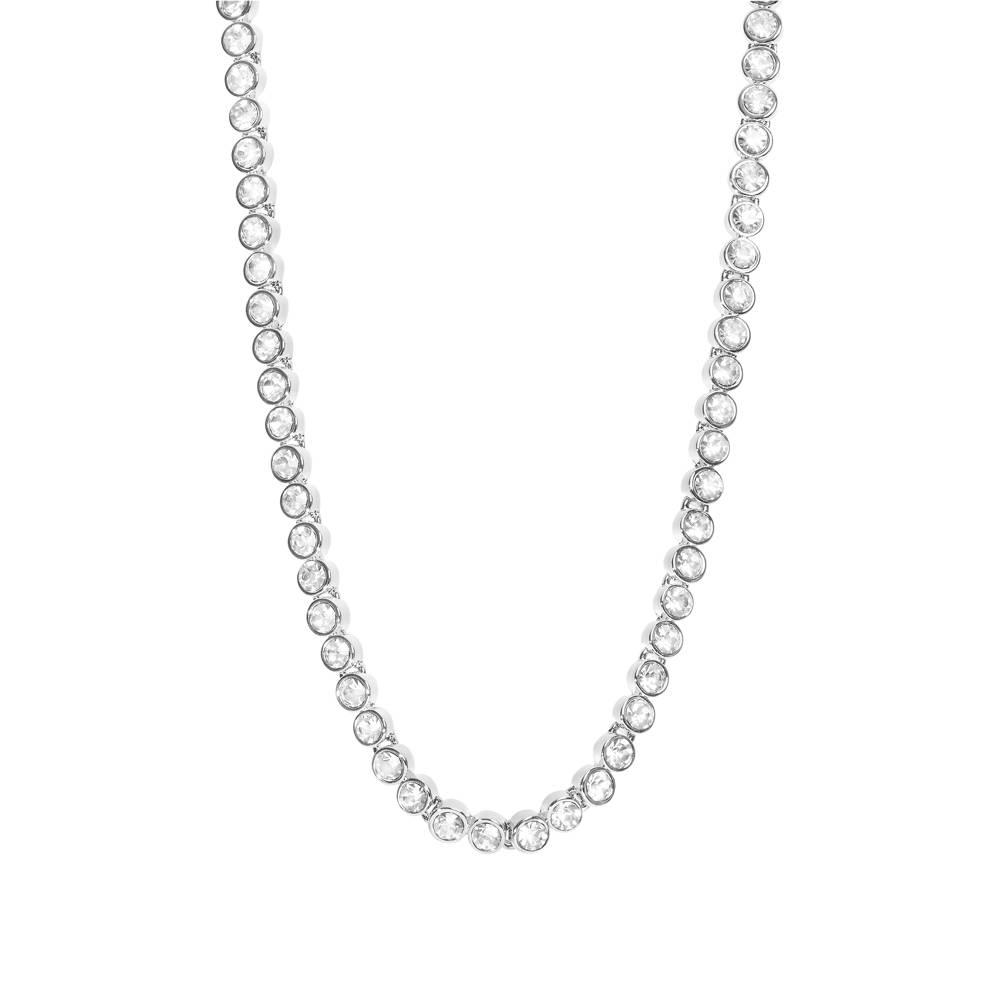 Stella-Bijou Halskette Tennis weißgold/weiß