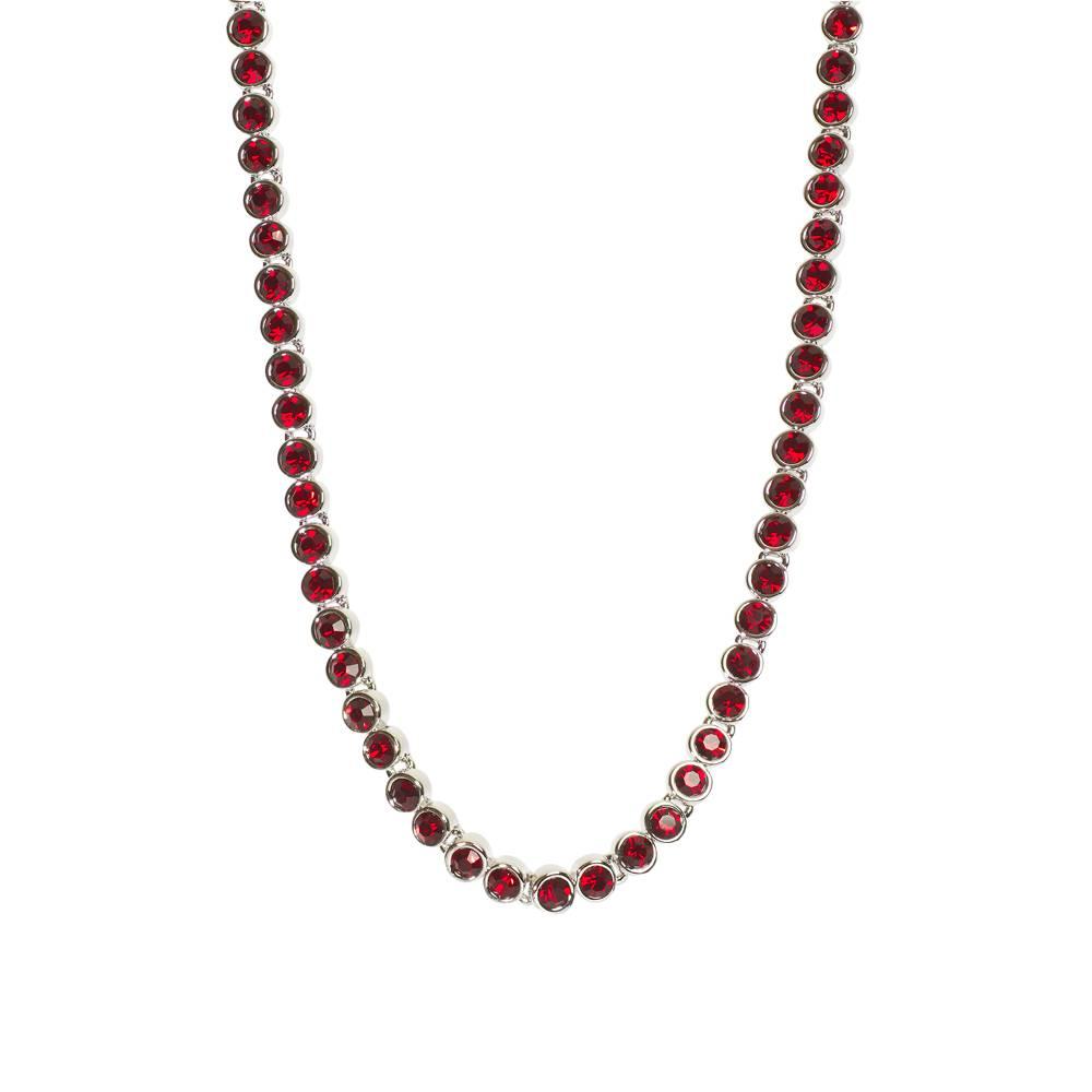 Halskette Tennis weißgold/rot