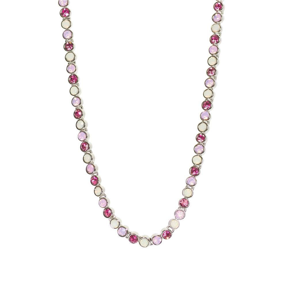 Stella-Bijou Halskette Tennis weißgold/rosa Multi