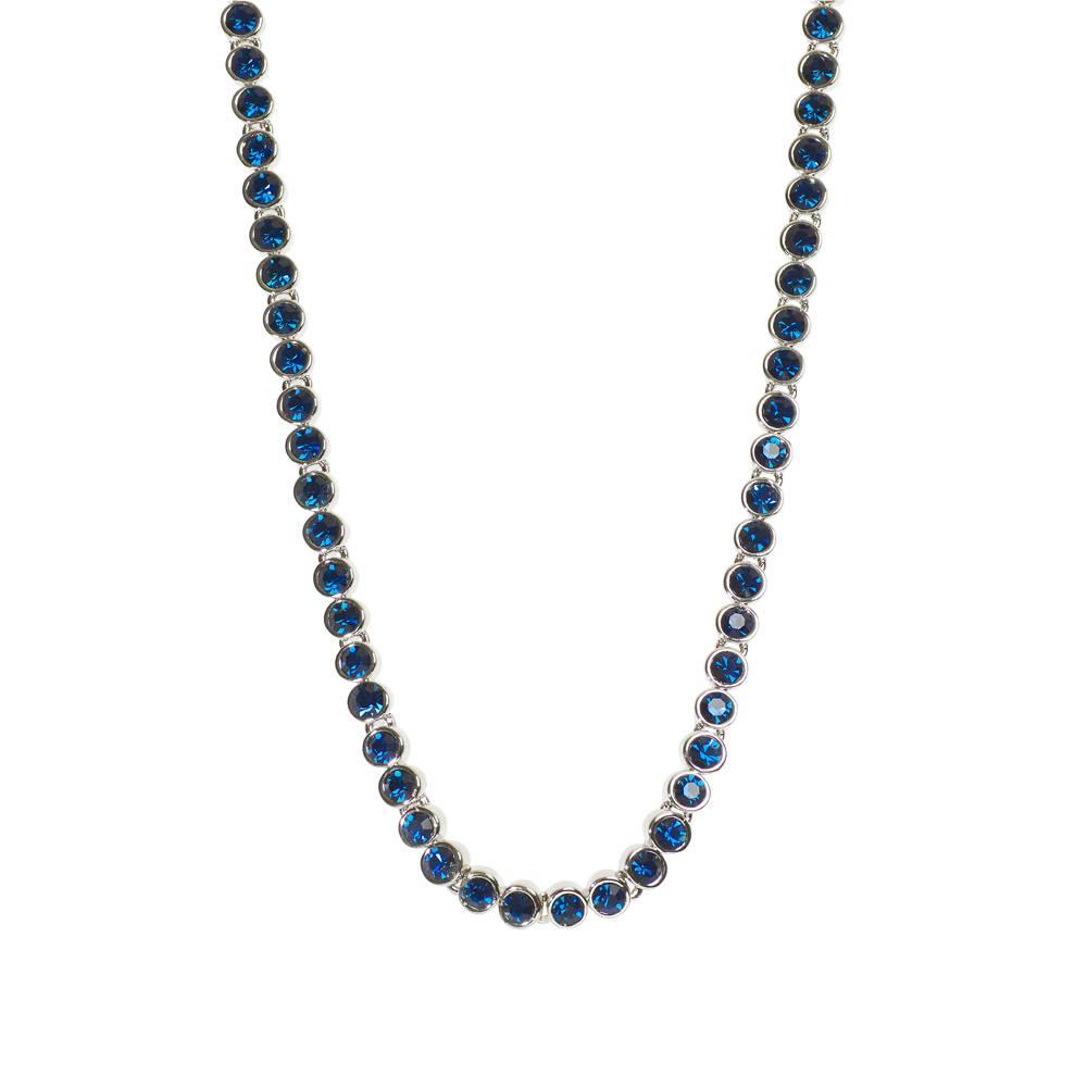 Halskette Tennis weißgold/dkl.blau