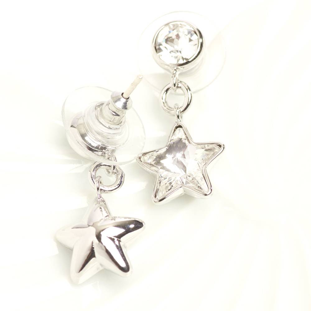 DEMI Collection Ohrringe/Ohrstecker Long Star Mini - weiß