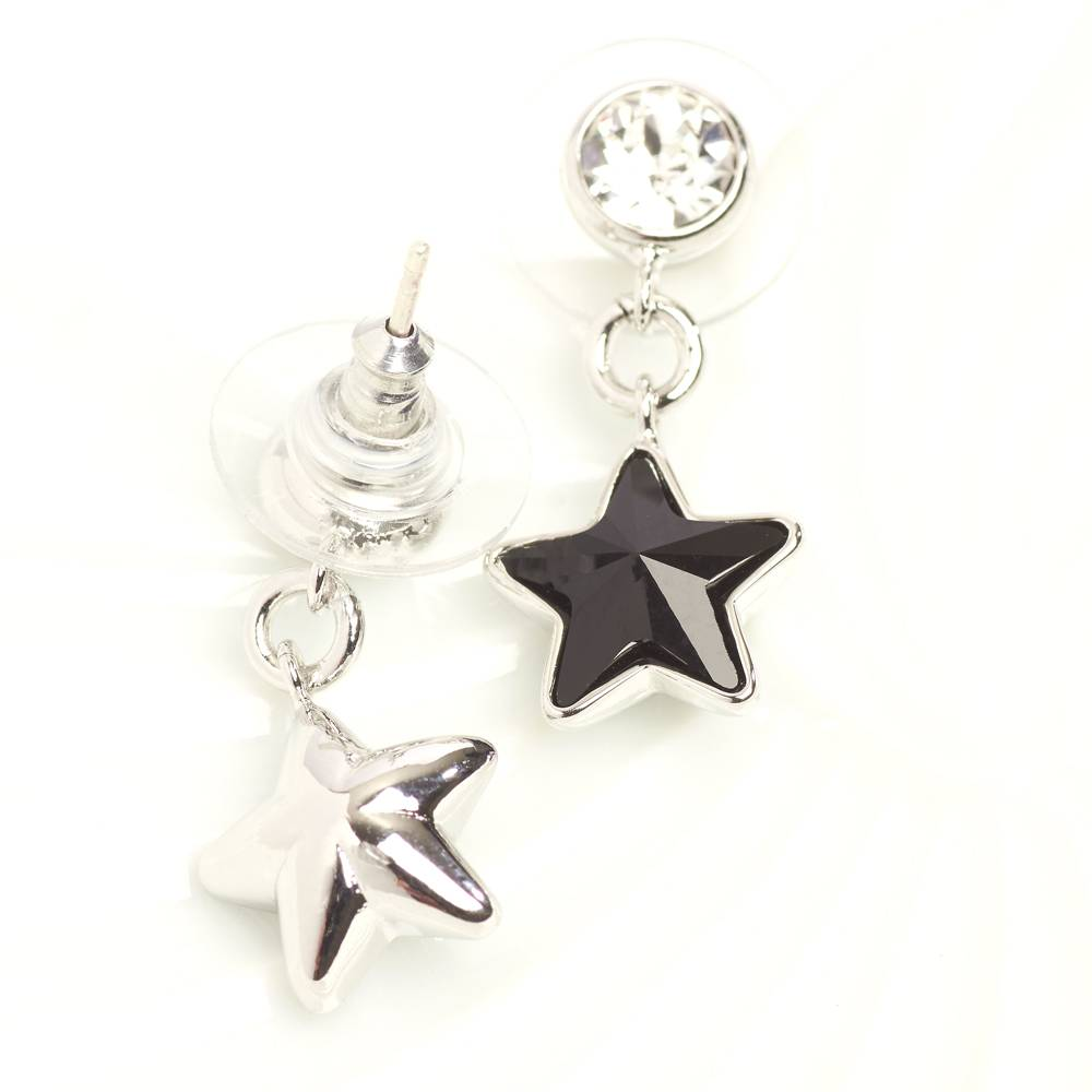 Ohrringe/Ohrstecker Long Star Mini - schwarz