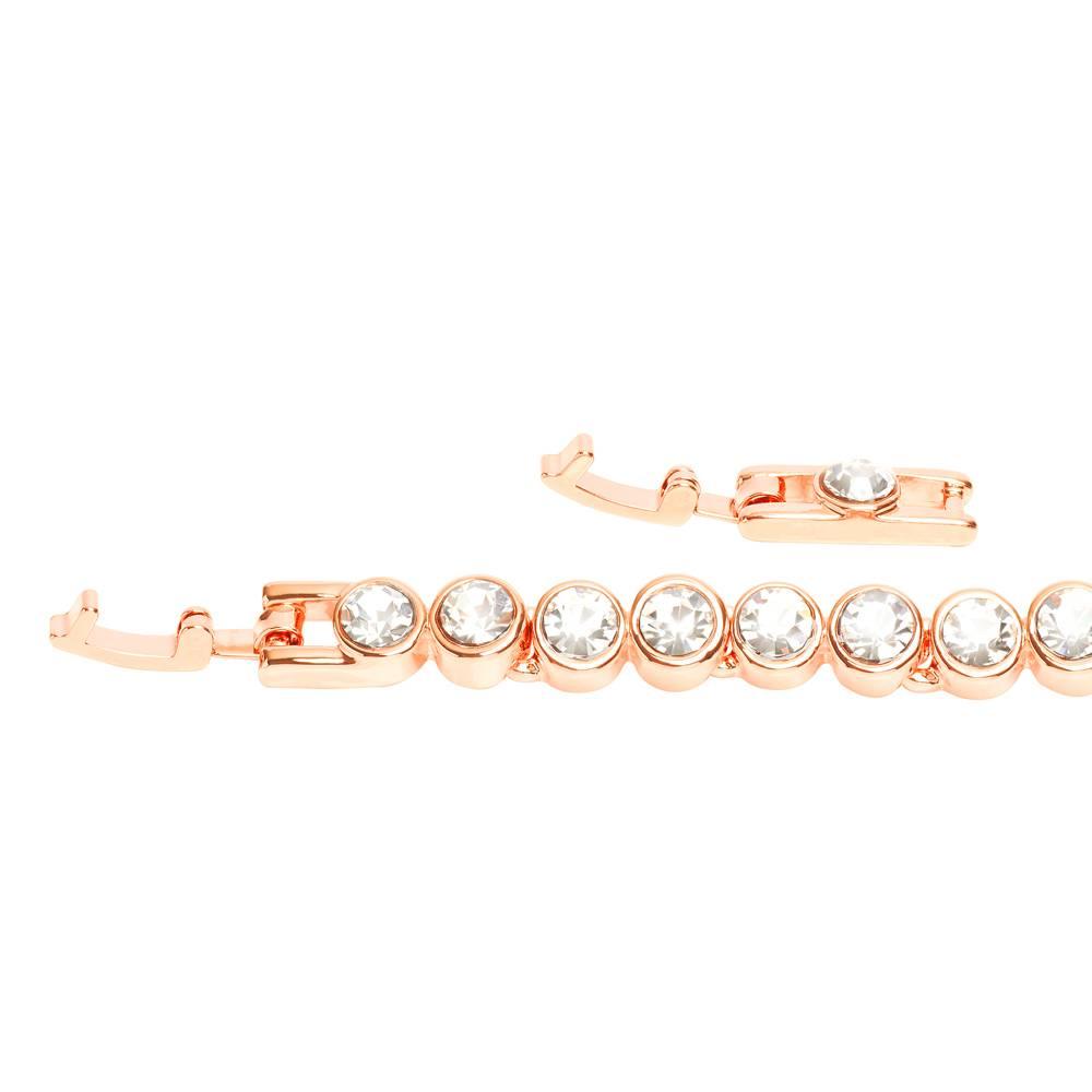 Stella-Bijou Stella-Bijou Tennisarmband, Roségold vergoldet, weiß