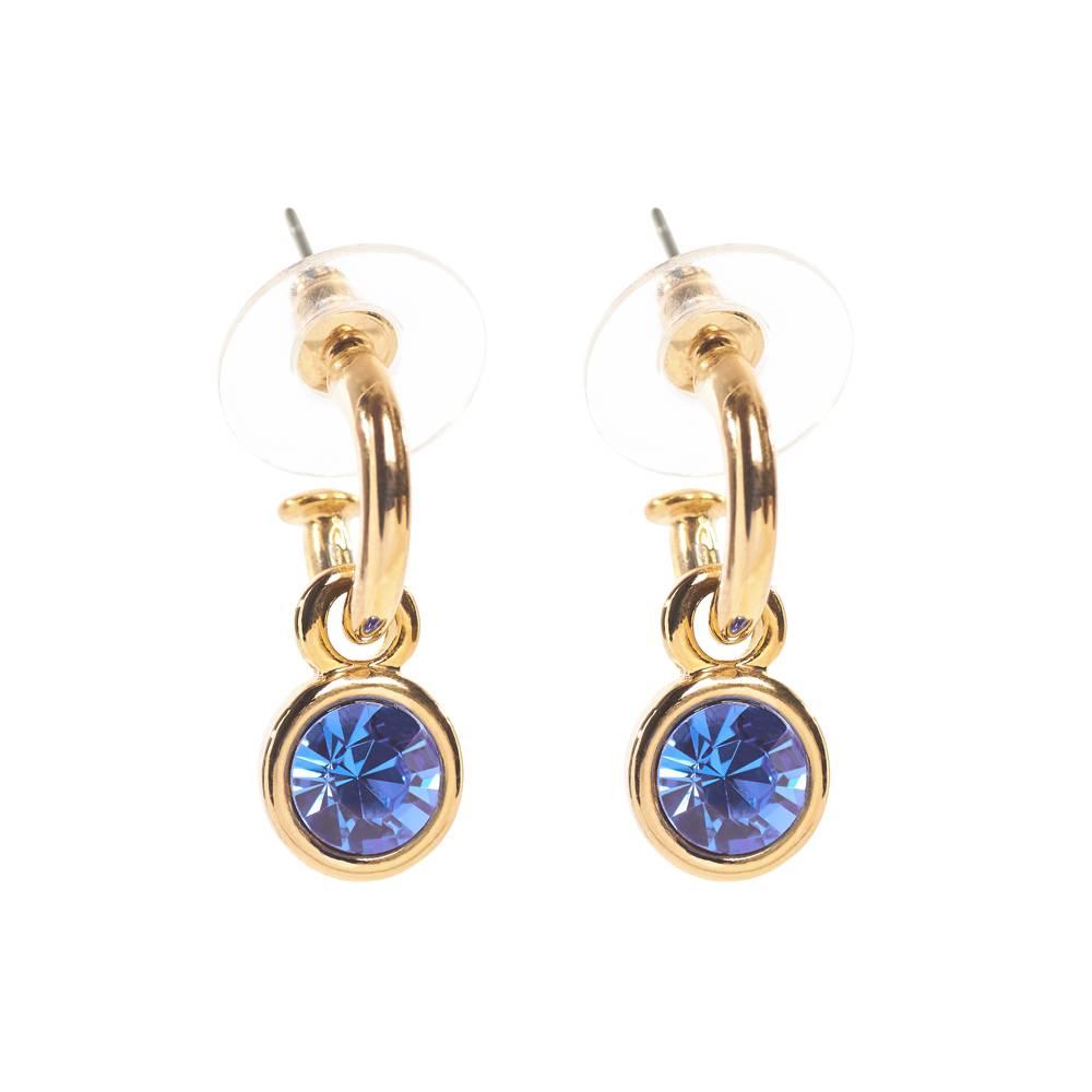 Tennis Ohrringe, blau - Gelbgold vergoldet