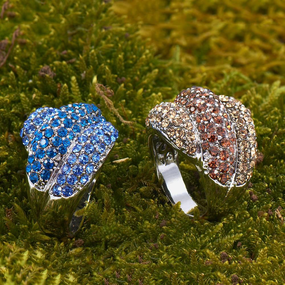 Stella-Bijou Ring Terzett blau