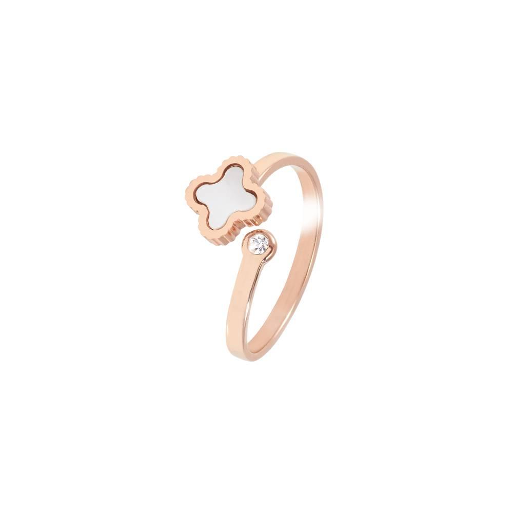 Stella-Bijou Ring Klee sparkle Roségold - schwarz oder weiß