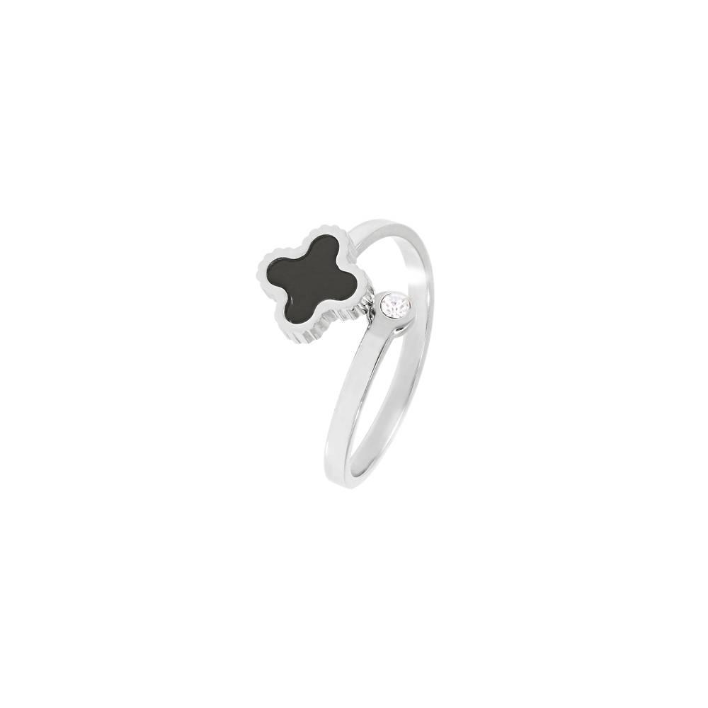 Stella-Bijou Ring Klee sparkle Weißgold - schwarz oder weiß