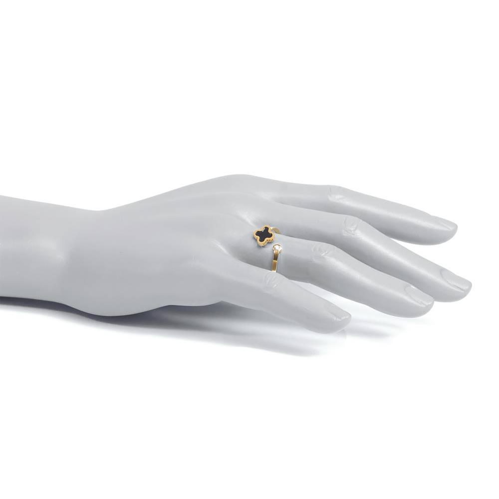 Stella-Bijou Ring Klee sparkle Gold - schwarz