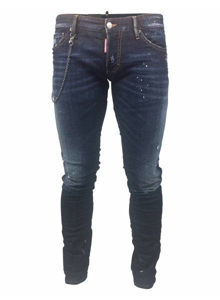 """Dsquared2 Dsquared2 """"Slim"""" Jeans Donkerblauw met Ketting"""