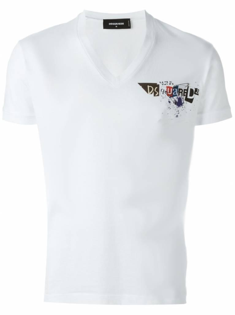 Dsquared2 Dsquared2 T-shirt V-Hals wit D2 - S74GD0165 S22427-100