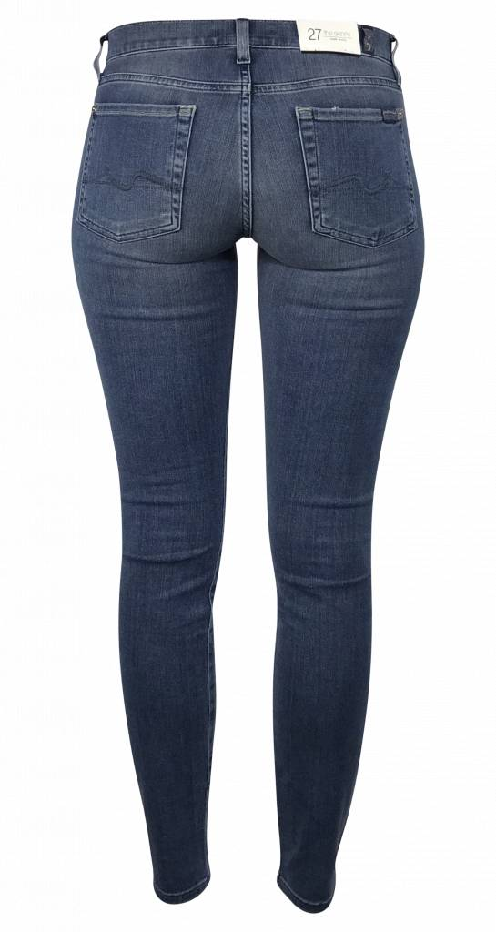 7 For All Mankind Skinny Jeans Destroyed Blauw - SWTR230YV