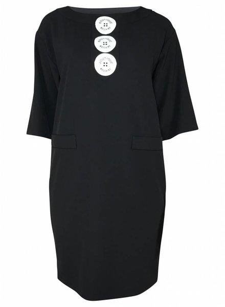 Boutique Moschino Zwart jurkje met witte knopen