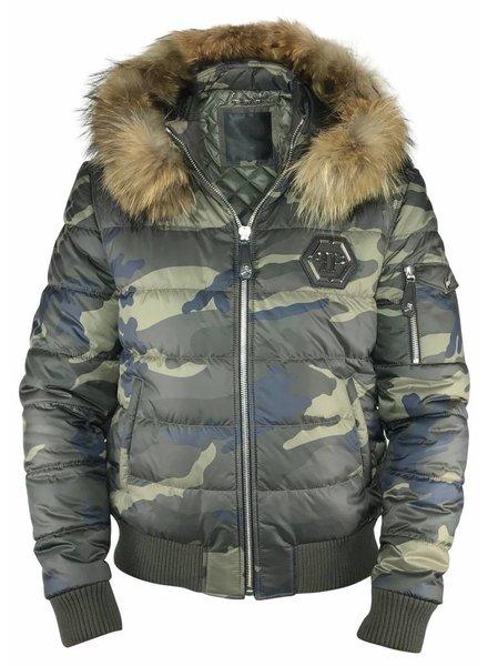 Philipp Plein Camouflage PP jas met bontkraag