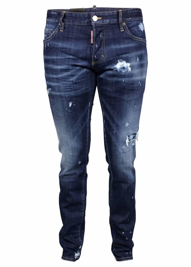 Dsquared2 Blauwe Dsquared jeans met bleek vlekken-S74LB0264 S30342-470
