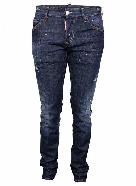 Dsquared2 Blauwe Dsquared jeans met rode vlekken