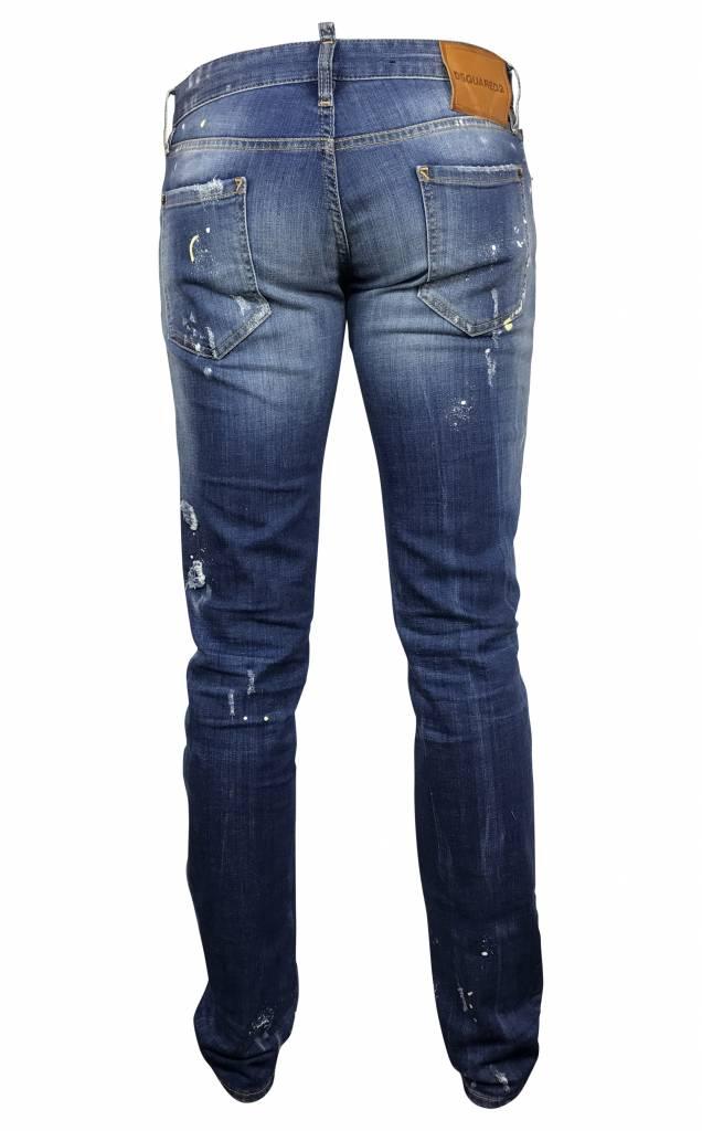 Dsquared2 Blauwe Dsquared jeans met verf-S74LB0080 S30342-470