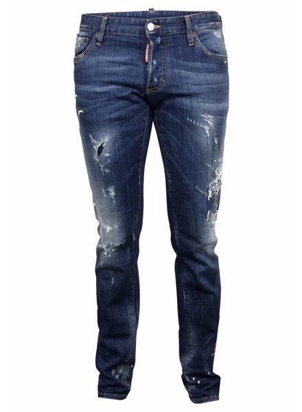 Dsquared2 Blauwe Dsquared jeans met verf vlekken