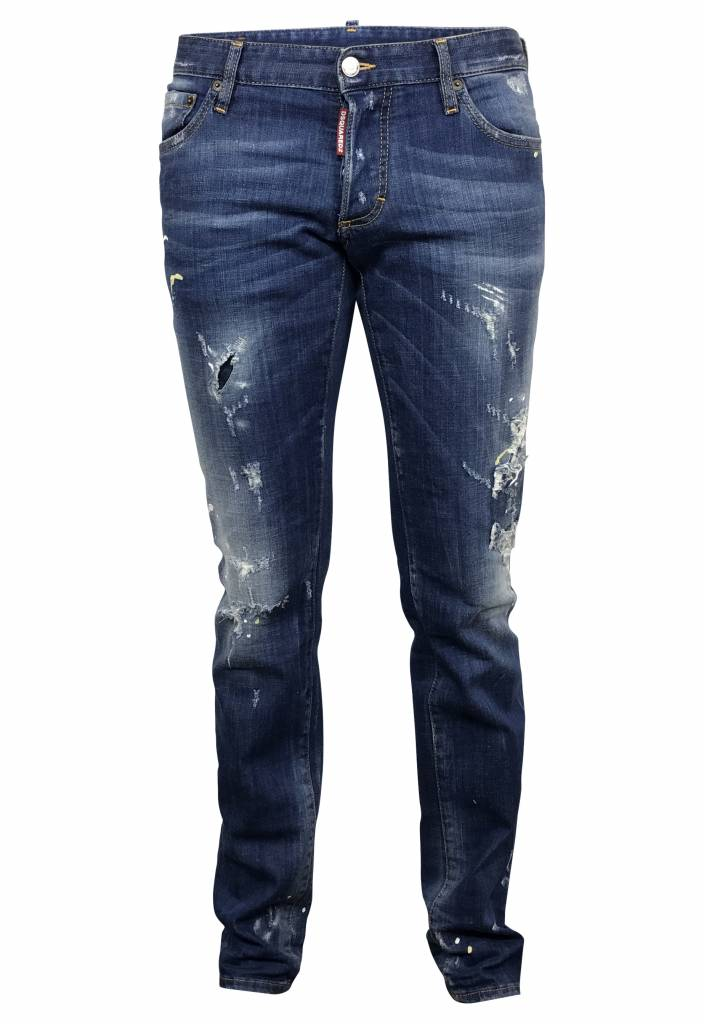 Dsquared2 Blauwe Dsquared jeans met verf-S74LB0080 S30342-470