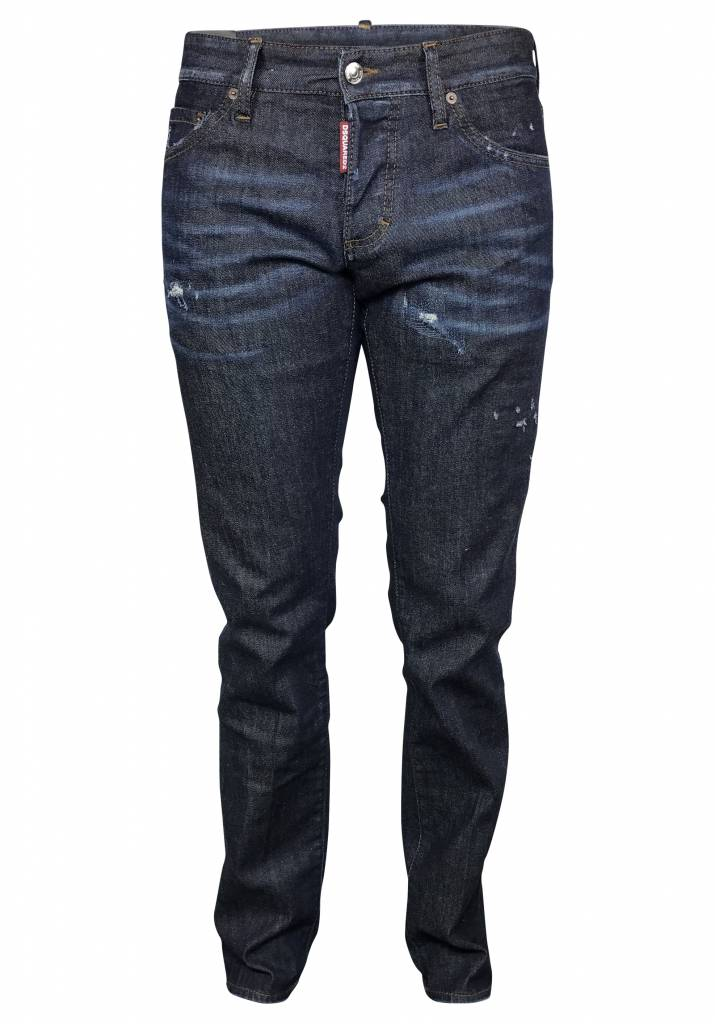 Dsquared2 Donkerblauwe Dsquared Slim jeans met verf vlekken-S74LB0272 S30330-470