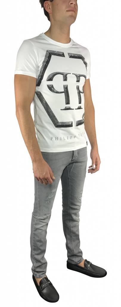 "Philipp Plein T-shirt ""Winter"" Wit PP - MTK0079 PJY002N--01"