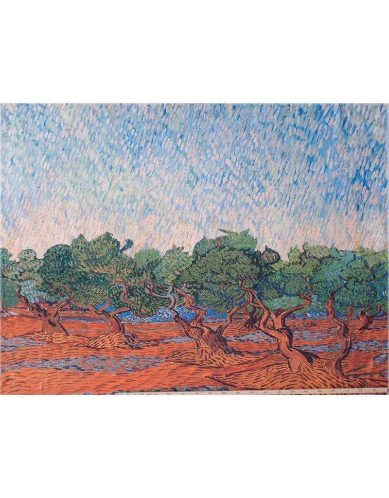 Glans Katoen Inkjet 797 - Olijfgaard, Vincent van Gogh