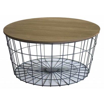 Rond Metalen Basket Bijzetafel met Houten Blad - Small