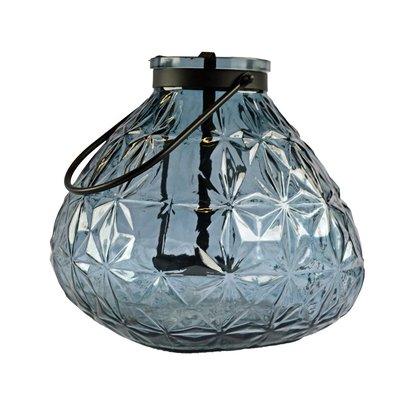 Windlicht van Glas met Hanger en Waxinelichthouder - Blauw