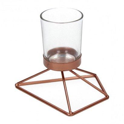 Waxinelichthouder van Glas met Koper Metalen voet