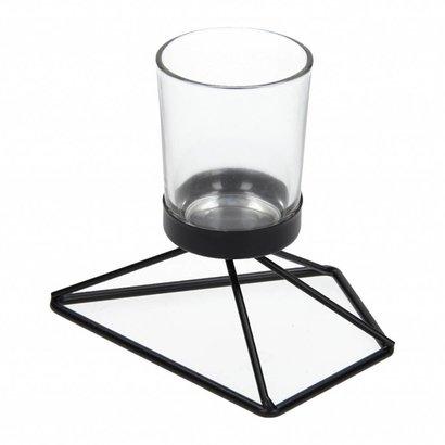 Waxinelichthouder van Glas met Zwart Metalen voet