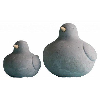 Betonnen vogels met Houten Snavels - set van 2