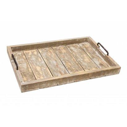 Flynn Dienblad van antique grijshout met metalen handgrepen - Groot