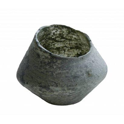 Waxinelichthouder van glas in uniek schuine vorm - Groot