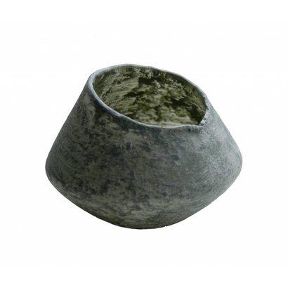Waxinelichthouder van glas in uniek schuine vorm - Klein