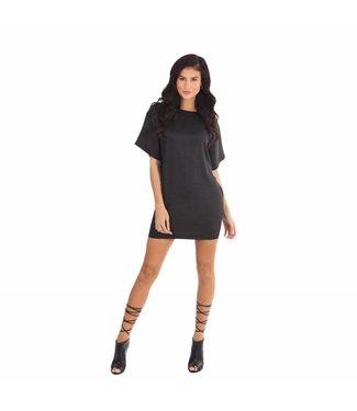 La sisters Oversized Satin T-Shirt / Dress Black