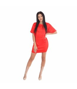 La sisters Oversized Satin T-Shirt / Dress Red