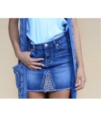 Jacky Luxury Denim Skirt Whit Studs