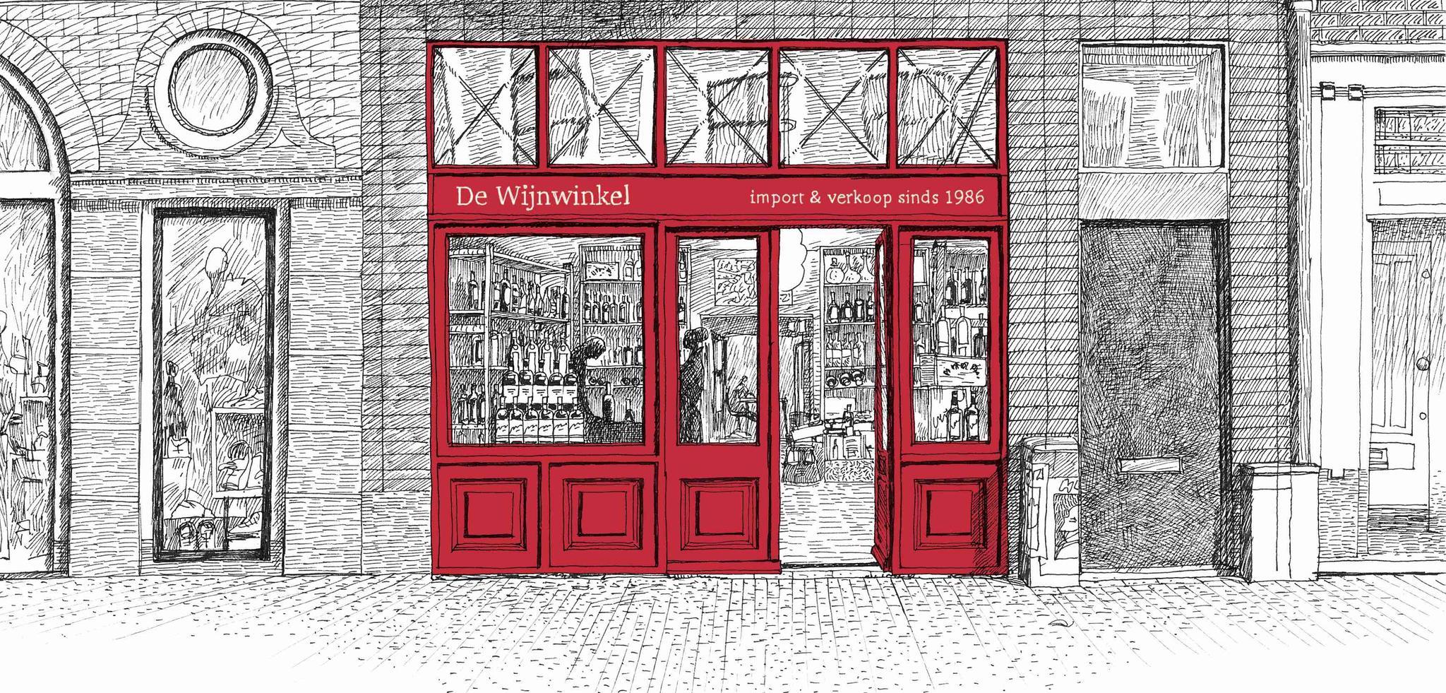 tekening wijnwinkel