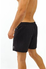Arpione White Tip Mid-length Swim Short - Squid black print