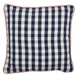 At Home with Marieke Cushion 50x50cm, blaue diamond / natural stripe