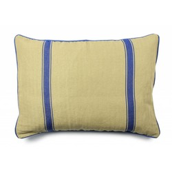 At Home with Marieke Kussen hoes 50x70cm, blauwe streep / effen blauw