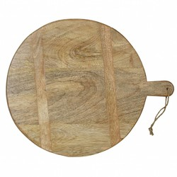 At Home with Marieke Round Wooden Serving Tray 35cm Natural