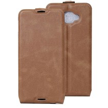 Bruin Flip Case Hoesje Alcatel One Touch Idol 4s