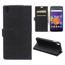 Zwarte krokodillen Bookcase hoes Alcatel One Touch Idol 3 (5.5)