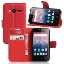 Rood Litchi Bookcase Hoesje Alcatel One Touch Pixi 4 4