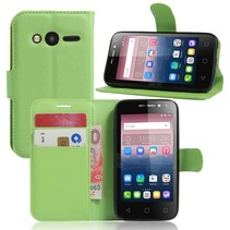Groen Litchi Bookcase Hoesje Alcatel One Touch Pixi 4 4
