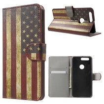 Amerikaanse Vlag Bookcase Hoesje Honor 8