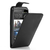 Zwart lederen Flip Case hoesje HTC Desire 500