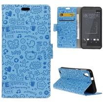 Blauw Figuurtjes Bookcase Hoesje HTC Desire 530
