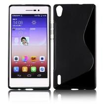 Zwart S-design TPU hoesje Huawei Ascend P7