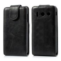Zwart lederen Flip Case hoesje Huawei Ascend Y300